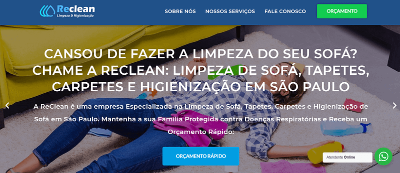 Agência Expert Digital - Site Reclean Limpeza e Higienização 2